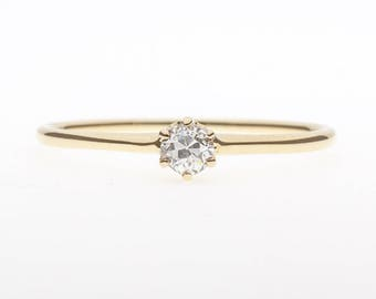 1900's 14K Solitaire Diamond Ring