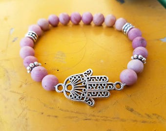 Beaded bracelet, hamsa bracelet, rhodochrosite, spiritual jewelry, mala bracelet, yoga bracelet, boho bracelet, bohemian jewelry