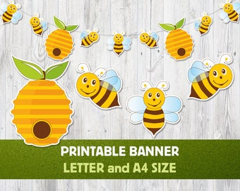 Printable Banner Bee Nursery Decoration Party Summer Honey