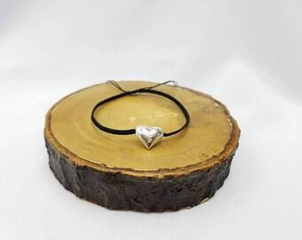 925 silver Heart pendant Bracelet , 925 silver bracelet, Nylon bracelet, Handmade bracelet.