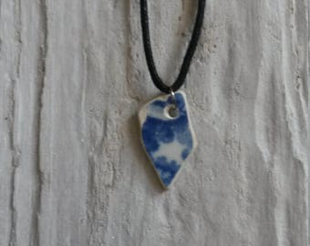 Unique Necklace, Blue and White Beach Pottery Necklace, Beach Pottery, Pottery Pendant