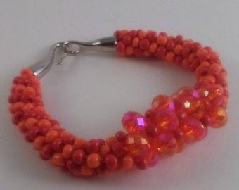 Orange and Red Beaded bracelet