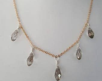 Handmade 18K Rose Gold Plated 925 Sterling Silver Necklace with Silver Briolette Drops