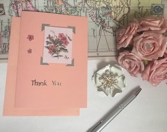 Thank you card - peach floral