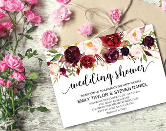 Wedding Shower Invitation, Fall Floral Bridal Shower Card, Couples Shower Invite, Editable Card Printable Instant Download Wedding Shower 05