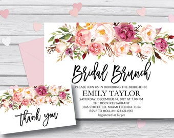 Bridal Brunch Invitation, Watercolor bridal invite, Floral Bridal Shower Card, Instant Digital Download File, Bridal Brunch Boho, BR-B1