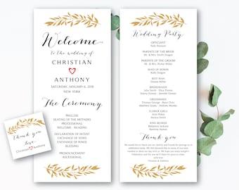 Wedding program template, Boho wedding program, Wedding ceremony programs, Wedding Program Fan, We do, ceremony programs, PDF Download - #27