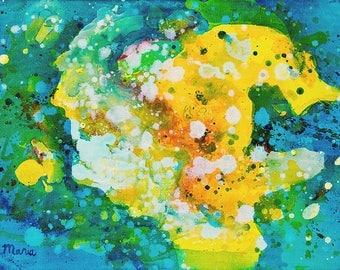 Kleurig abstract schilderij, acryl op doek