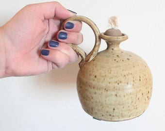 Signed Vintage Earthtone Pottery Oil Lamp