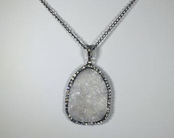 "White Druzy Pendant Necklace with Rhinestone & Gunmetal Side detail, 24"" Chain"