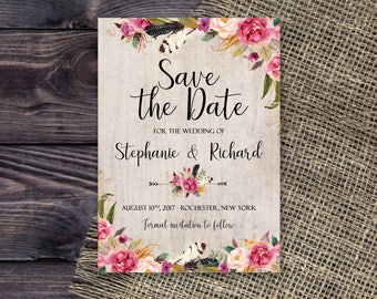 Printable Rustic Bohemian Save the Date Floral Wedding Pink Watercolor flowers Save the Date Invite WS-016