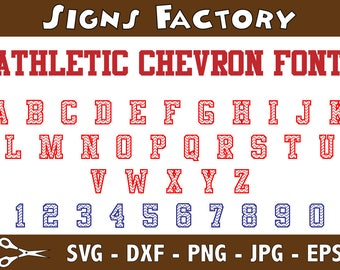 Athletic Chevron Sports Alphabet SVG, Athletic Letters, Sports Style Letters SVG, Svg, Eps, Dxf, Studio3 use with Cricut & Silhouette