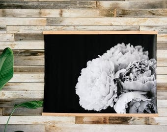 B&W Peonies. Peony Poster. Peony Print. Peony Picture. Poster Hanger. Picture Hanger.