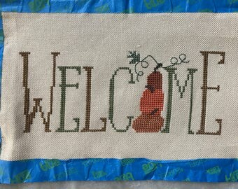 "Unframed / Stitched / Completed Cross Stitch - Fall ""Welcome"""