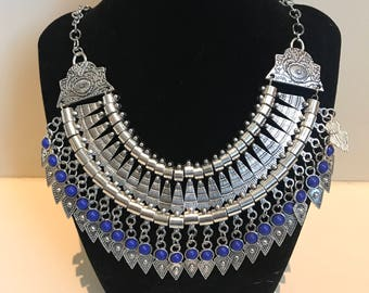 Silver Tribal Style Necklace with Blue Stones