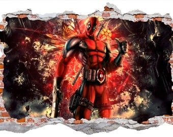 Deadpool Smashed Wall Sticker Decal