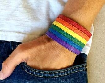 Gay flag bracelet, gay pride bracelet, rainbow leather bracelet, lgbt pride, lesbian pride, gay jewelry, gay pride flag