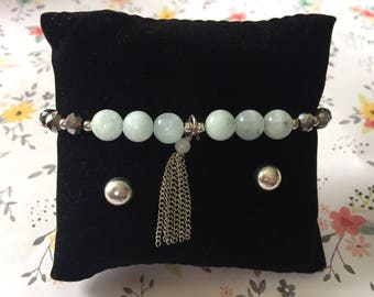 White Glass Beaded Dangle Bracelet w/Earrings