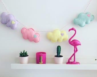 Nursery decor, felt cloud garland