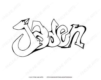 jaden coloring book pages boys mens baby names personalized nursery room fun wall artwork prints