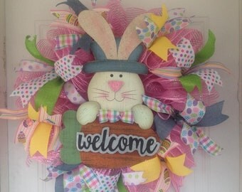 """Beautiful handcrafted 25"""" Easter Welcome deco mesh  wreath."""