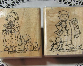 Christmas Stamps, Rubber Stamps, Stampin' Up 2000 Little girl & little boy