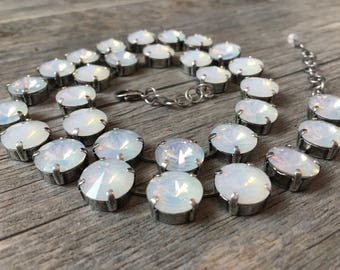 White Opal Swarovski Necklace