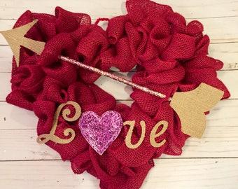 Valentines Day Heart Wreath, Valentines Day Wreath, Red Burlap Heart Wreath, Heart Wreath, Burlap Heart Wreath, Valentines Day Decor, Vday