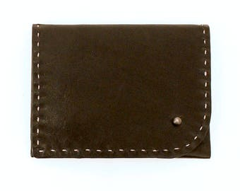 Black Leather Wallet with Custom Color Stitching, Pocket Wallet, Stud Wallet, Card Case
