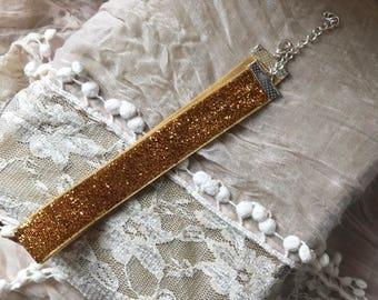 Gold Glitter Ribbon Choker Necklace