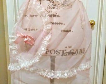1950s Pink Chiffon Lace Apron