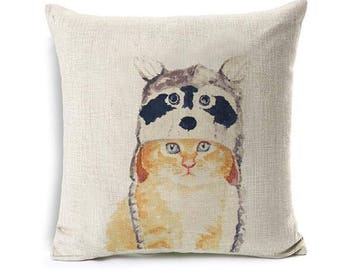 Lovely Yellow Cat With Rakun Hat Pillow Case
