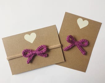 Purple knitted baby bow - hand knit hair bow - nylon headband or alligator clip