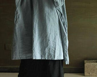 linen clothing,Plain, loose, large dress
