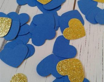 Blue heart confetti, wedding confetti, paper confetti, card stock confetti, gold glitter confetti, party confetti, party decor,  wedding.