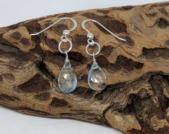 Blue topaz silver earrings. Blue topaz briolettes earring. Sterling silver blue topaz earrings. Also comes in gold filled