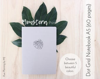 Dot Grid Notebook, Travelers Notebook Insert, Bullet Journal, Bullet Journal Notebook, A5 Notebook, Midori Insert, Monstera, Monstera Print