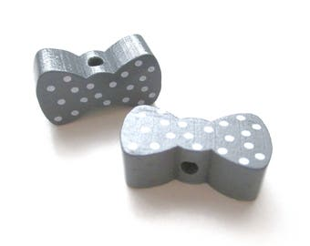 Bow - dark with white dots grey wooden bead