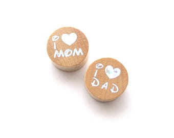 I Love Mom, I Love Dad Glitter natural wooden bead