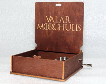 "Valar Morghulis - Engraved Wooden Music Box - ""Game Of Thrones"" - Night's Watch - Hand Crank Movement"