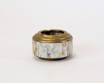 Brass ashtray with mother of pearl