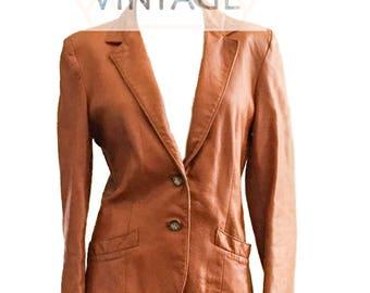 Vintage Retro 1970's Karen Silton Brown Leather Blazer, Retro Jacket, Size 2