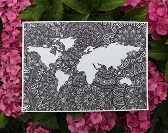 Mandala world map etsy black and white world map mandala map artwork world map print mandala wall gumiabroncs Choice Image