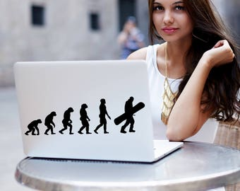 Evolution Snowboarding Silhouette Decal, Snowboarding Sticker, Evolution Decals, Snowboarding Decals, Laptop Stickers, Snowboard Decal