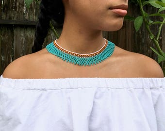 Blue Beaded Collar Necklace