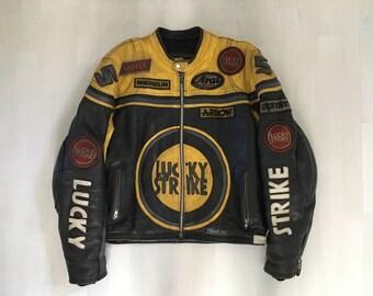 Lucky Strike Leather Jacket, Motorcycle Jacket Yellow And Black, Vintage Motorbike Leather Jacket