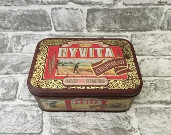 Vintage Ryvita Rectangular Tin, Advertising Vintage Metal Tin