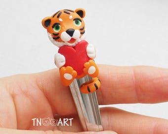 Lovely Tiger spoon with decor from polymer clay tea spoon handmade dessert sweets red heart love