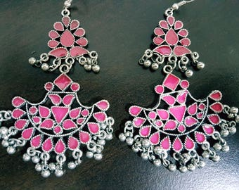 Pink (Long) Enamel Silver oxidised long chandelier chandbalis party festive wear