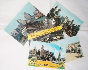 5 Vintage CHICAGO Postcard Lot • The Windy City